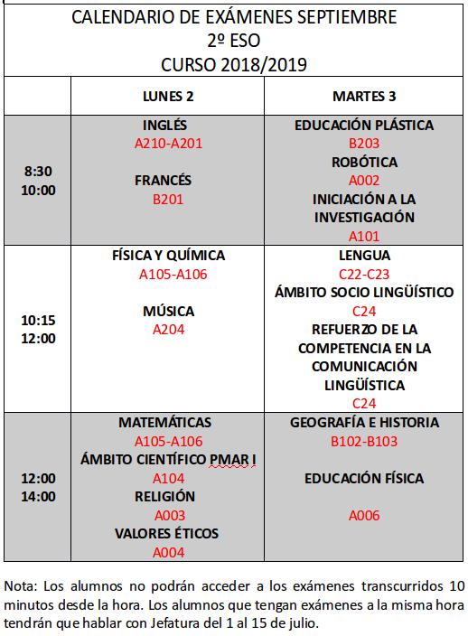 Calendario De Examenes.Calendario De Examenes De Septiembre 2019