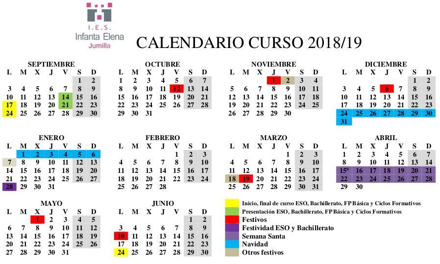 Calendario Escolar Murcia 2019.Calendario Escolar 18 19